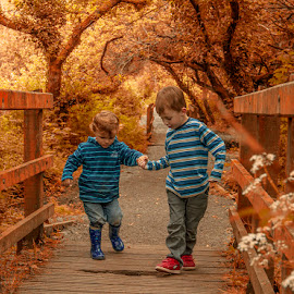 Mind the Gap by Andy Toby - Babies & Children Children Candids ( friends penrose, friends, autumn, family, forest, cornwall,  )