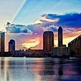 Sunrise 7/26 by Neil Dern - Landscapes Sunsets & Sunrises ( sunrise, color, buildings, skyline, water )