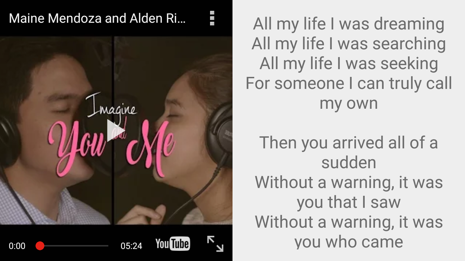 Imagine You & Me Lyrics Pro Screenshot 4