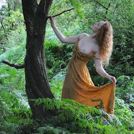 by DJ Cockburn - Nudes & Boudoir Artistic Nude ( natural light, nude, topless, nature, dress, woman, forest, redhead, ivory flame, standing, portrait )