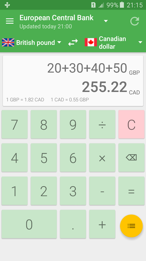 Currency Converter Calculator Screenshot 1