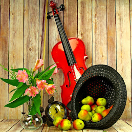by Dipali S - Artistic Objects Still Life ( music, vase, clock, still life, fruits, spring, hat, violin, fresh, artistic, glass, pears, flowers )