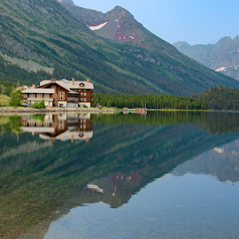 Many Glacier Hotel by Phyllis Plotkin - Buildings & Architecture Public & Historical ( mountains, lake, hotel, many glacier hotel, glacier national park )