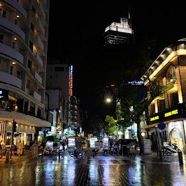 A Wet Evening by Beh Heng Long - City,  Street & Park  Night ( saigon )