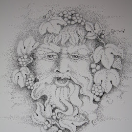 Dionysus by Jeri Olsen - Drawing All Drawing ( wine, bacchus, black and white, greek gods, pointillism, dots )