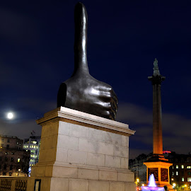Really Good by DJ Cockburn - Buildings & Architecture Statues & Monuments ( really good, nelson's column, art, trafalgar square, fourth plinth, city, david shrigley, hand, urban, sculpture, england, statue, london, fountain, long exposure, night, full moon, westminster, thumbs up, national gallery, britain )