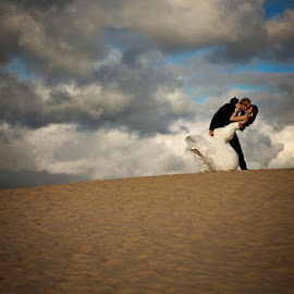 on the dune by Linda Stander - Wedding Bride & Groom ( clouds, sand, wedding, couple, beach )