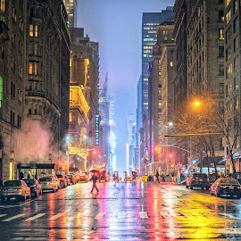 7th Ave by Will Shuck - City,  Street & Park  Night ( times square, night, nyc, new york, rain )