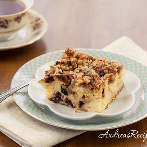 Eggnog Cranberry Bread Pudding