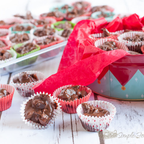 No Fuss Slow Cooker Chocolate Candy Clusters