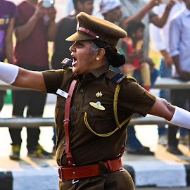 an woman, leading a parade by Venkat Krish - People Professional People ( #police, #woman, #parade, #india, #proud )