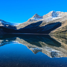 Bow Lake Reflections by Joe Chowaniec - Landscapes Mountains & Hills ( reflection, mountains, mountain, nature, lake, landscapes, landscape, shadows )