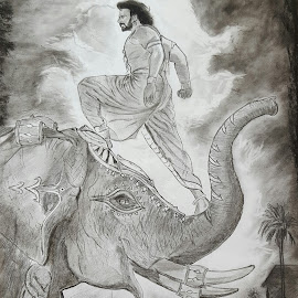 baahubali  by Surender Gangineni - Drawing All Drawing ( sketch, charcoal, epic, movie, actor, doctor )