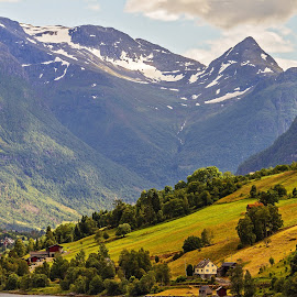 Leaving Olden Norway by Graham Mulrooney - Landscapes Mountains & Hills ( water, building, mountain, scandinavia, sea, scenic, house, fjord, norway, olden, mountains, horizontal, snow, dramatic, buildings, trees, scene, kingdom of norway, scenery, rugged )