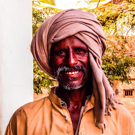 Smiling Farmer by Sumit  Kumar Gupta - People Portraits of Men ( face, village, farmer, hardworker, smile, annadata, black )