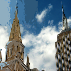 Towers by Edward Gold - Digital Art Places ( blue, church, skyscraper, empire state building, digital art, towers,  )