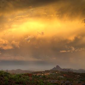 Golden Skies by Scott Wood - Landscapes Deserts ( lightning, monsoon, arizona, storm, rain )
