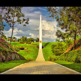The Sundial by Danial Abdullah - Buildings & Architecture Statues & Monuments ( sundial, landmark, cloud, landscape, garden )