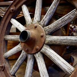 Weary Wagon Wheel by Barbara Brock - Artistic Objects Antiques ( wooden wheel, wagon wheel, old wheel, round, spokes )