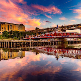 Tyne Sunset by Davey T - City,  Street & Park  Historic Districts ( tyne, quayside, sunset, gateshead, newcastle )