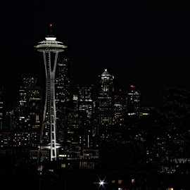 Seattle at night by Ruth Sano - City,  Street & Park  Skylines ( space needle, black and white, seattle, night, nightscape )