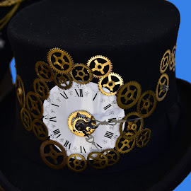 The Wheel is Spinning by Marco Bertamé - Artistic Objects Other Objects ( gear wheelsgolden, time, clock, pointer, round, number, circle, yellow, roman, black, hat )