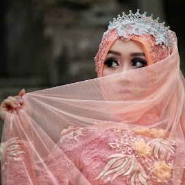 Cover the face, Are you shy?. by Mardi Tri Junaedi - People Portraits of Women ( #beauty, #traditional, #ethnic, #temple, #hijab )