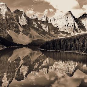Moraine Lake by Gosha L - Landscapes Travel ( blackandwhite, mountain, canada, nature, lake, landscapes,  )