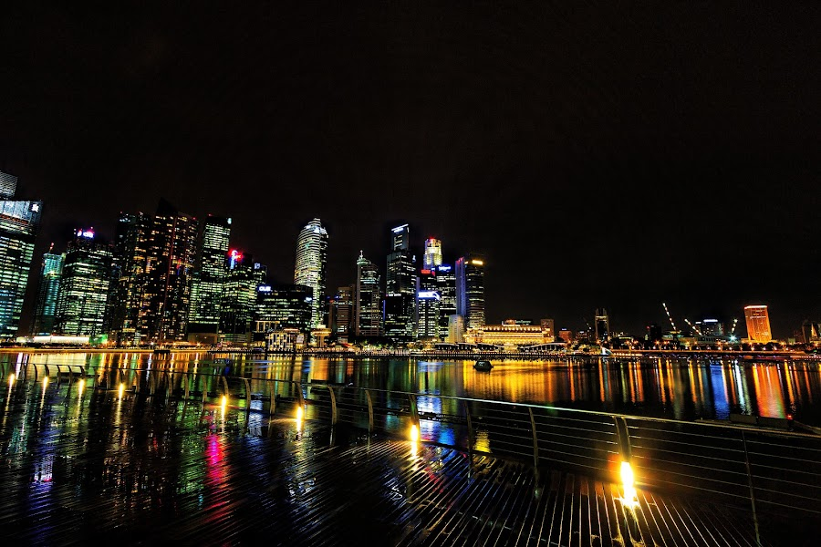 Singapore Skyline By Night by Lye Danny - City,  Street & Park  Skylines