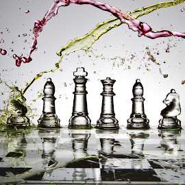 Messy chess zone by Peter Salmon - Artistic Objects Glass ( colour, water, chess, glass, board )