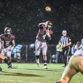 A Dark  & Stormy Night by Jackie Nix - Sports & Fitness American and Canadian football ( football, prattville lions, quarterback, stadium, storm, prattville high school, rain, wetumpka indians )