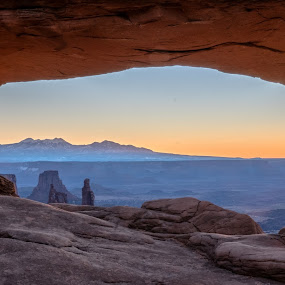 Mesa Arch in Canyondlands at sunrise by Drew Campbell - Landscapes Deserts ( canyonlands, mesa arch, sunrise )
