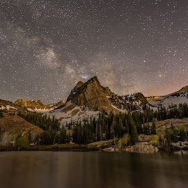 Milky Way Over Sundial Peak by Givanni Mikel - Landscapes Starscapes ( utah, blanche, way, lake, milky )