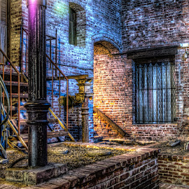 Behind Garrison by Saber Woodard - City,  Street & Park  Night ( night photography, brick wall, street, dramatic, cityscape )
