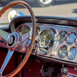 Dashboard of an old car by Debbie Quick - Transportation Automobiles ( racing, debbie quick, old, connecticut, debs creative images, transportation, automobile, car, vintage, lakeville, lime rock park, car show, track, raceyway, dashboard )