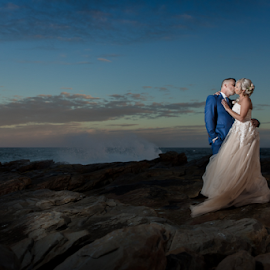 Sea View by Lood Goosen (LWG Photo) - Wedding Bride & Groom ( bride, wedding dress, groom, wedding photography, wedding photographer, weddings, wedding day, wedding photographers, brides, bridegroom, bride and groom, wedding, nightfall )