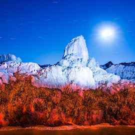 Polar night by Annette Nordlinder - Abstract Light Painting ( moon, red, blue, seaweed, white, pillar, rock,  )