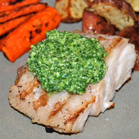Grilled Grouper with Basil-Lime Pistou
