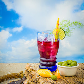 Time to Relax by Jim Downey - Food & Drink Alcohol & Drinks ( sand beach, beach scene, lemon. tangerine, refreshment, cheers, lime, ice cold, olives )