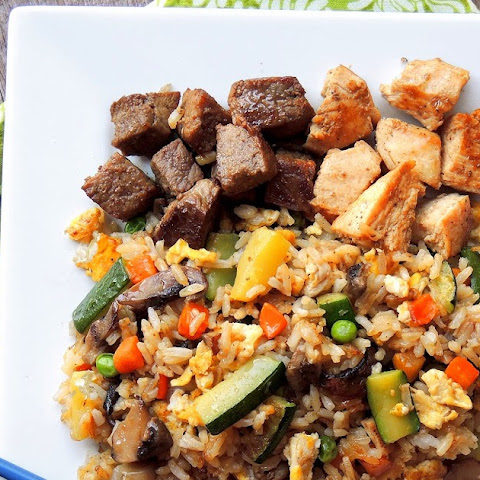 NY Strip Steak & Chicken Stir Fry with Jasmine Rice