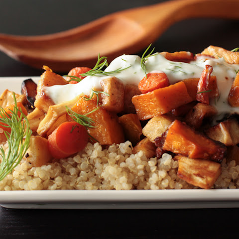 Roasted Root Vegetables on Quinoa with Yogurt sauce