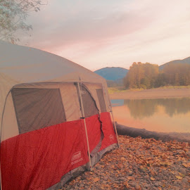 A campers dream by Jodi Armstrong - Landscapes Travel ( gorgeous, camping, tent, relaxation, beauty, beach, sunrise, fun, sleep, river )