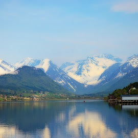 by Bente Agerup - Landscapes Mountains & Hills ( hills, andalsnes, mountains, reflections, norway )