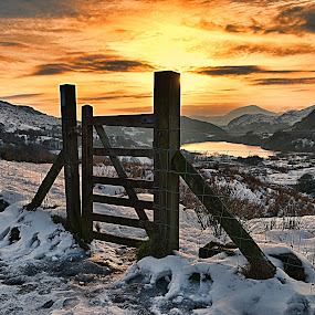 Llanberris Pass by Angel Weller - Landscapes Mountains & Hills ( fence, mountain, sunset, lake, snowdon )