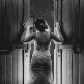 Doorways by Lood Goosen (LWG Photo) - Wedding Bride ( wedding photography, wedding photographers, black and white, weddings, wedding, brides, bride )