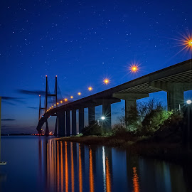 Sidney Lanier #4 by Jesse Mobley - Buildings & Architecture Bridges & Suspended Structures ( water, starbursts, stars, night, bridge )