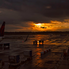 Take Off by Kelley Hurwitz Ahr - Transportation Airplanes ( airport, michigan, plane, sunset, airplane, detroit )