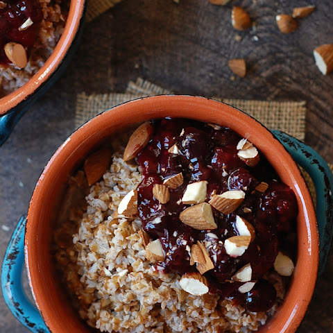 Overnight Breakfast Bulgur with Maple Berry Sauce