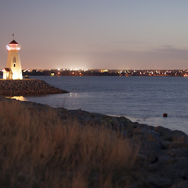 Lighthouse Sunset  by Jason Jeep Rutter - Landscapes Sunsets & Sunrises ( lighthouse, lake hefner )