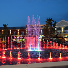 Island Fountain by Thomas Shaw - City,  Street & Park  Fountains ( lights, water, sky, red, blue, pigeon forge, fountain, buildings, show, night, wet, the island, lighted )